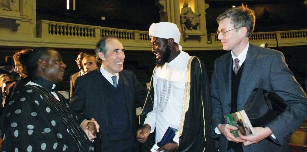 Mohammed Sahnoun with Imam Ashafa and Pastor James from Nigeria and Alan Channer during Foundation Chirac Award Ceremony for Conflict Prevention in La Sorbonne, Paris, 6th November 2009